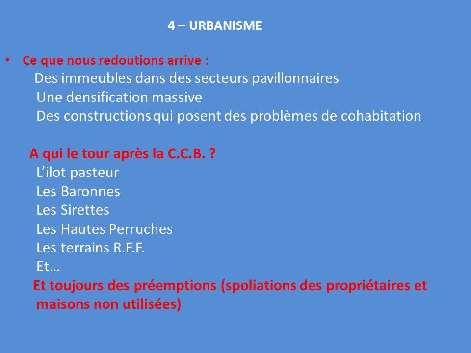 Y : n constat 4 – URBANISME Ce que nous redoutions arrive : Des immeubles dans des secteurs pavillonnaires Une densification massive Des constructions qui posent des problèmes de cohabitation A qui le tour après la C.C.B.