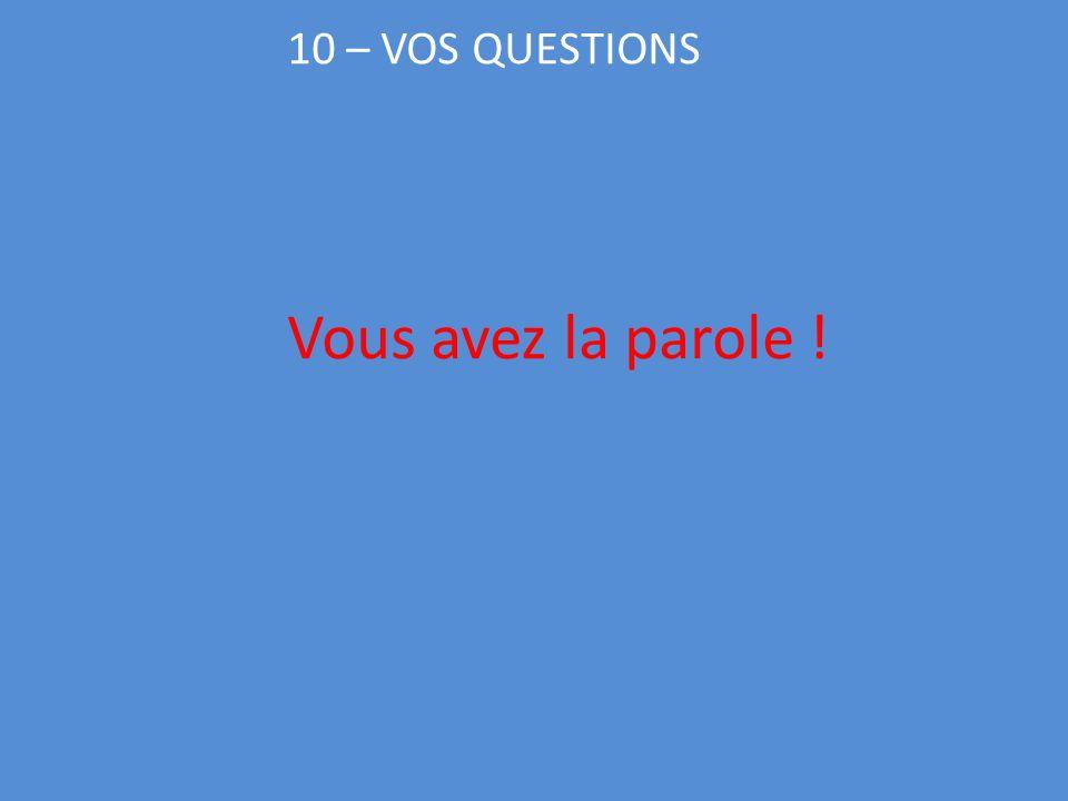 10 – VOS QUESTIONS Vous avez la parole !