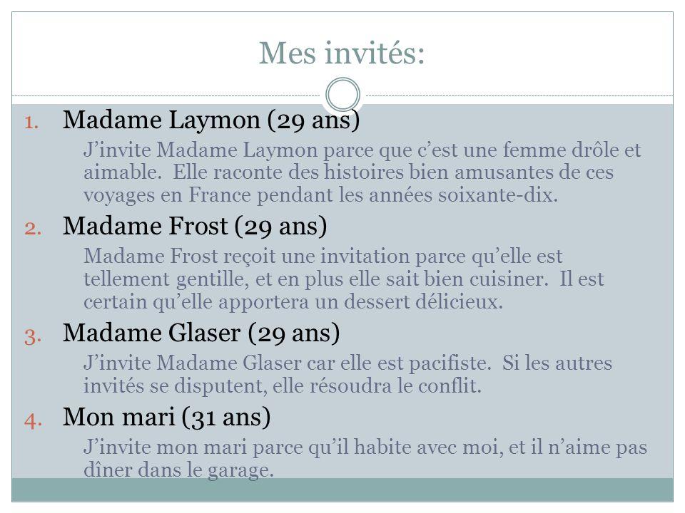 Mes invités: 1. Madame Laymon (29 ans) Jinvite Madame Laymon parce que cest une femme drôle et aimable. Elle raconte des histoires bien amusantes de c