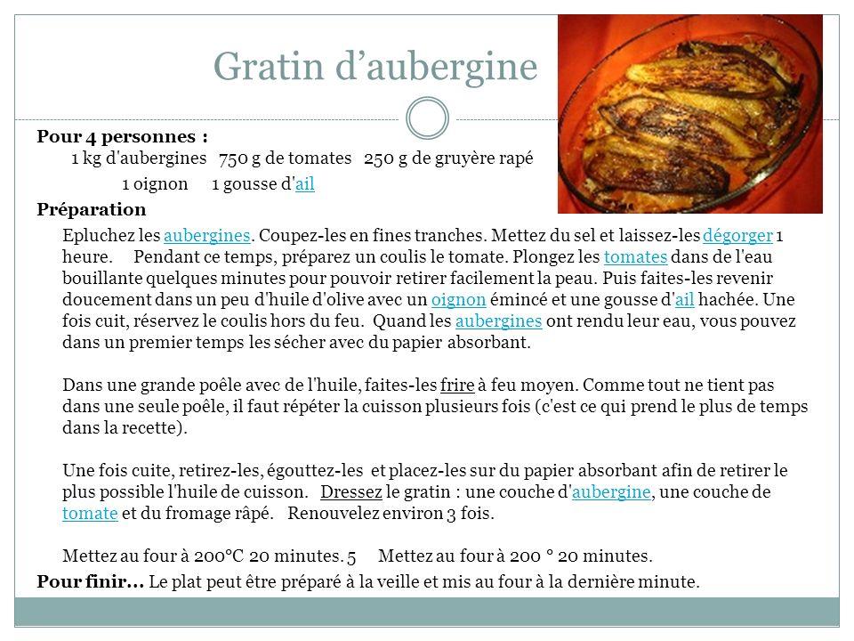 Gratin daubergine Pour 4 personnes : 1 kg d'aubergines 750 g de tomates 250 g de gruyère rapé 1 oignon 1 gousse d'ailail Préparation Epluchez les aube