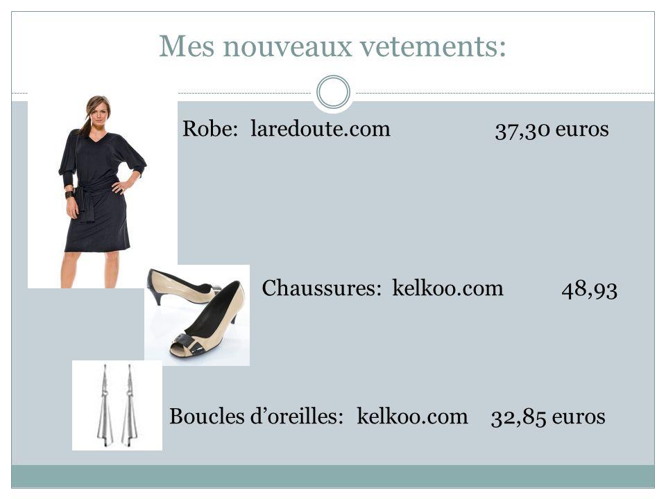 Mes nouveaux vetements: Robe: laredoute.com37,30 euros Chaussures: kelkoo.com48,93 Boucles doreilles: kelkoo.com 32,85 euros