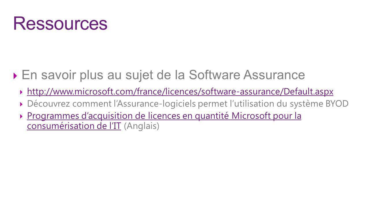 Ressources En savoir plus au sujet de la Software Assurance http://www.microsoft.com/france/licences/software-assurance/Default.aspx Découvrez comment