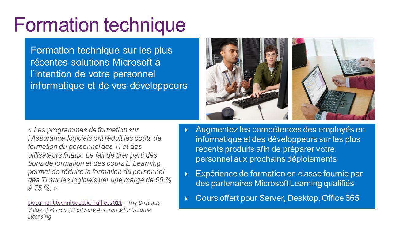 Formation technique « Les programmes de formation sur lAssurance-logiciels ont réduit les coûts de formation du personnel des TI et des utilisateurs f