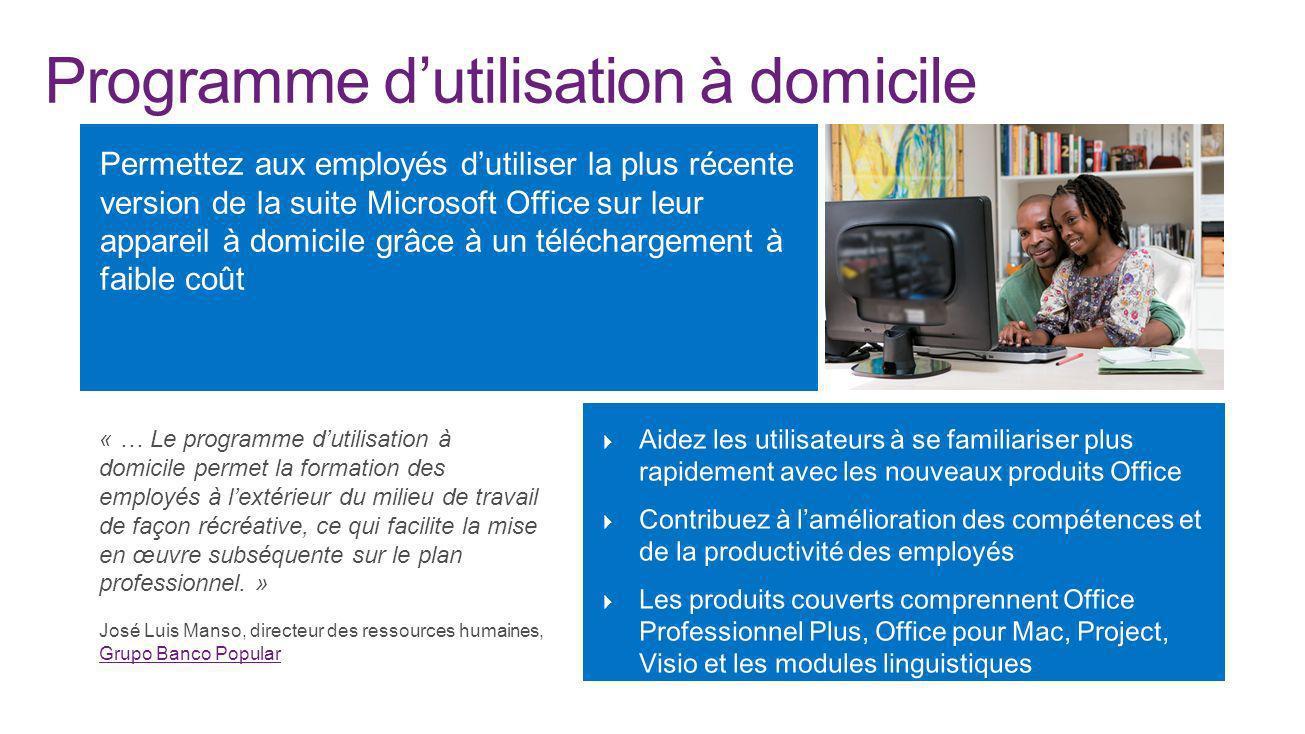 Programme dutilisation à domicile « … Le programme dutilisation à domicile permet la formation des employés à lextérieur du milieu de travail de façon