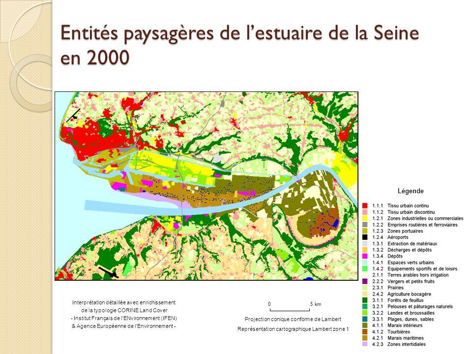 0 5 km Légende Interprétation détaillée avec enrichissement de la typologie CORINE Land Cover - Institut Français de l ENvironnement (IFEN) & Agence Européenne de l Environnement - Projection conique conforme de Lambert Représentation cartographique Lambert zone 1 Entités paysagères de lestuaire de la Seine en 2000