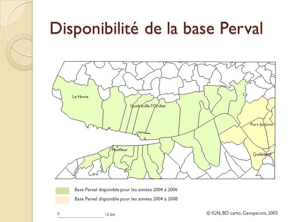 Disponibilité de la base Perval © IGN, BD carto, Geosyscom, 2005 0 12 km Base Perval disponible pour les années 2004 à 2006 Base Perval disponible pour les années 2004 à 2008 Le Havre Honfleur Gonfreville lOrcher Port-Jérôme Quillebeuf