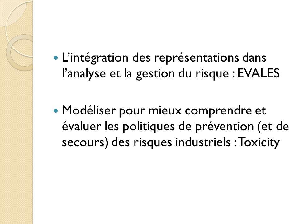 Lintégration des représentations dans lanalyse et la gestion du risque : EVALES Modéliser pour mieux comprendre et évaluer les politiques de prévention (et de secours) des risques industriels : Toxicity