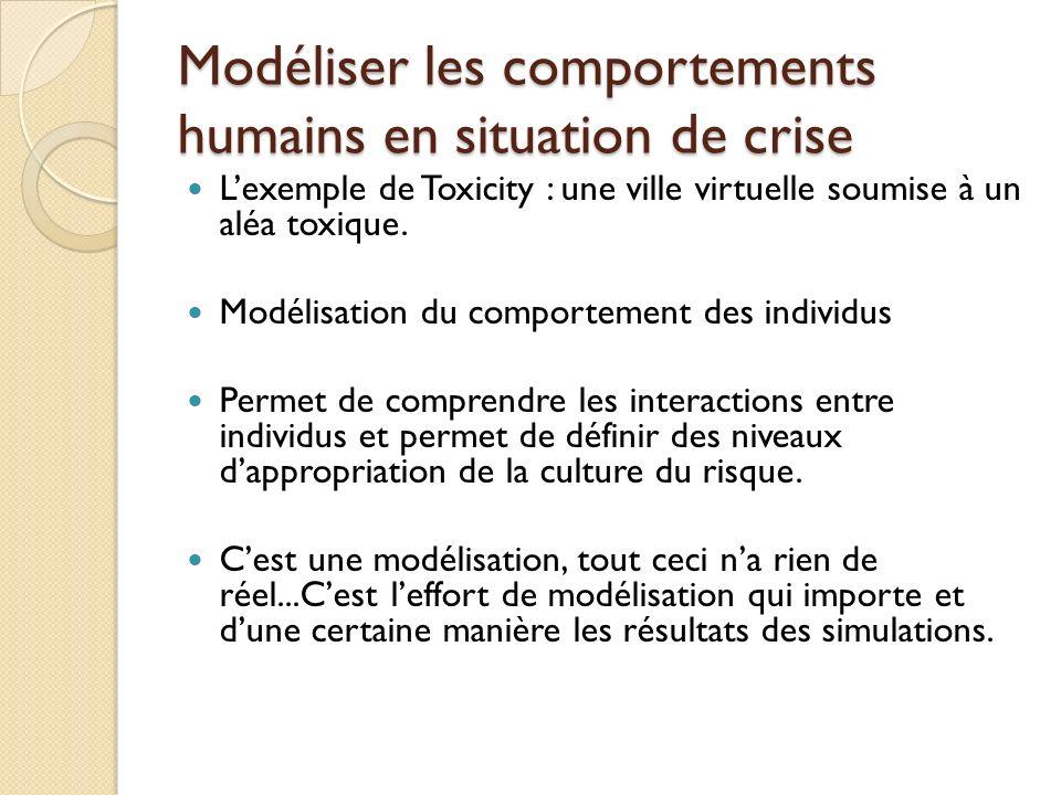 Modéliser les comportements humains en situation de crise Lexemple de Toxicity : une ville virtuelle soumise à un aléa toxique.