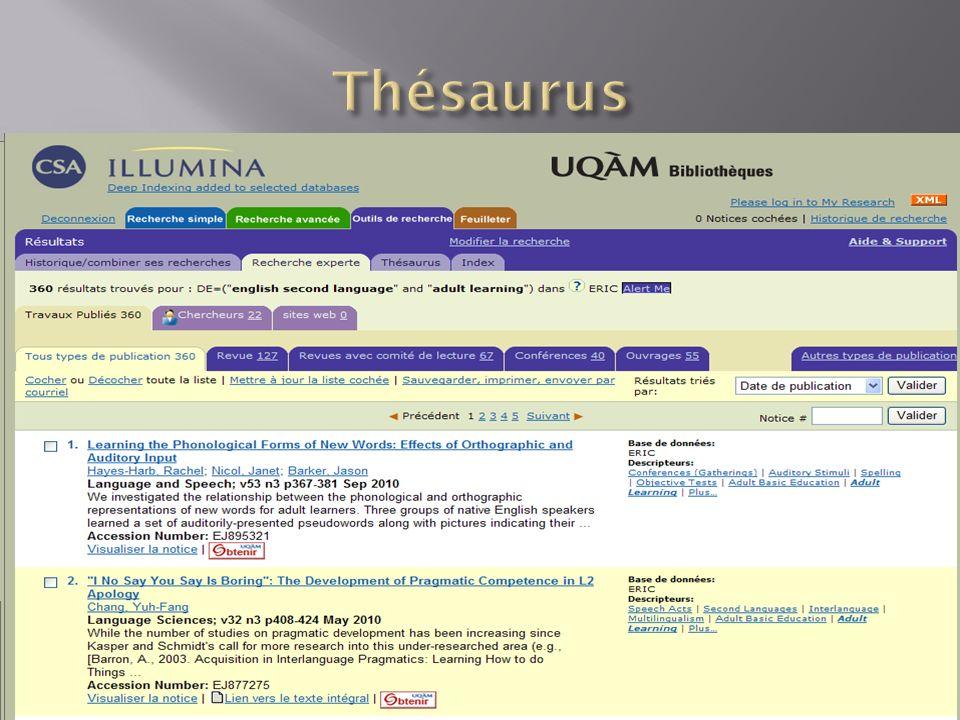 Au bas de la page PsynchInfo nous donne accès au thésaurus
