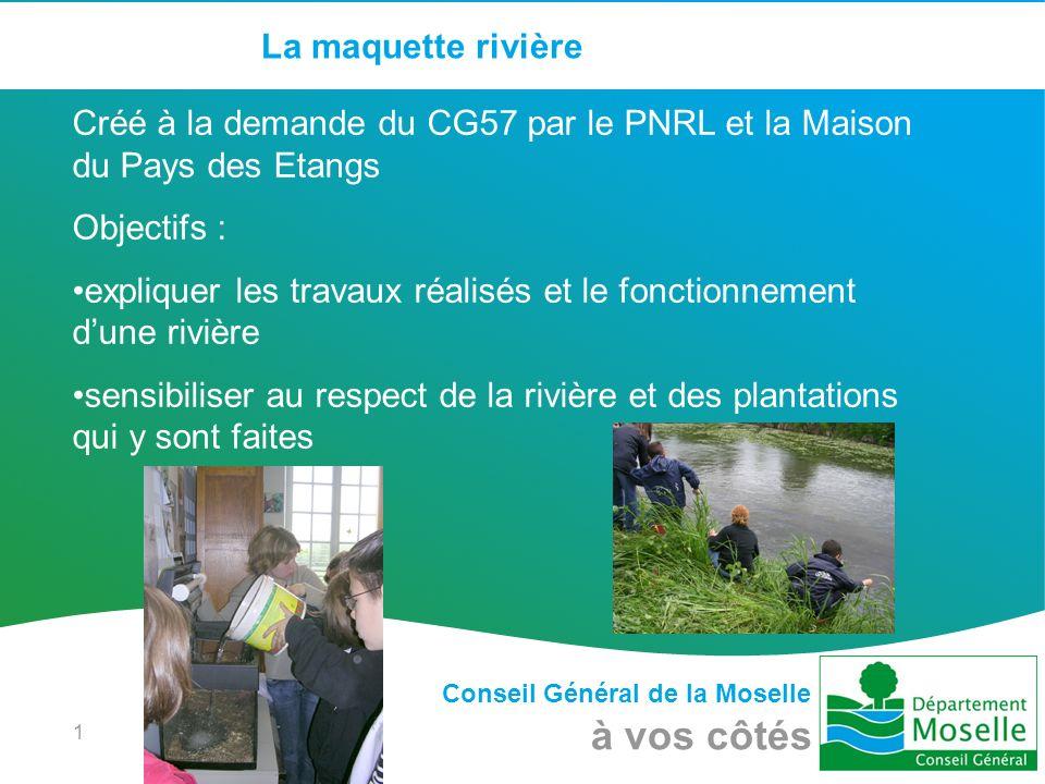 Conseil Général de la Moselle à vos côtés 1 La maquette rivière Créé à la demande du CG57 par le PNRL et la Maison du Pays des Etangs Objectifs : expl