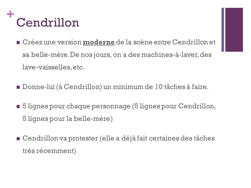+ Cendrillon Créez une version moderne de la scène entre Cendrillon et sa belle-mère.