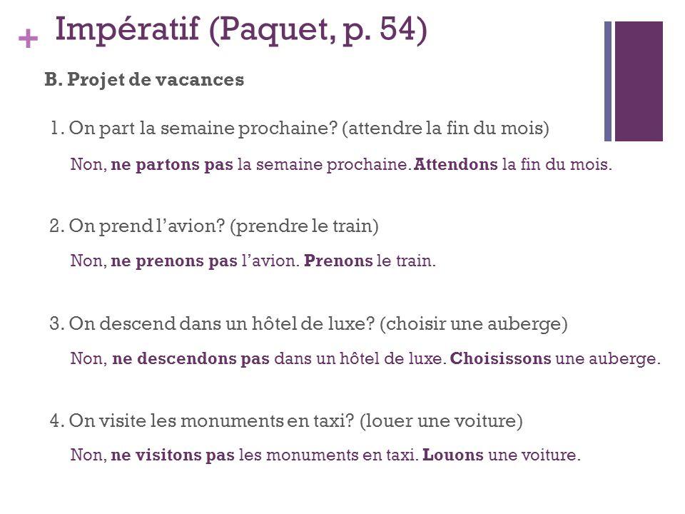 + Impératif (Paquet, p.54) B. Projet de vacances 1.