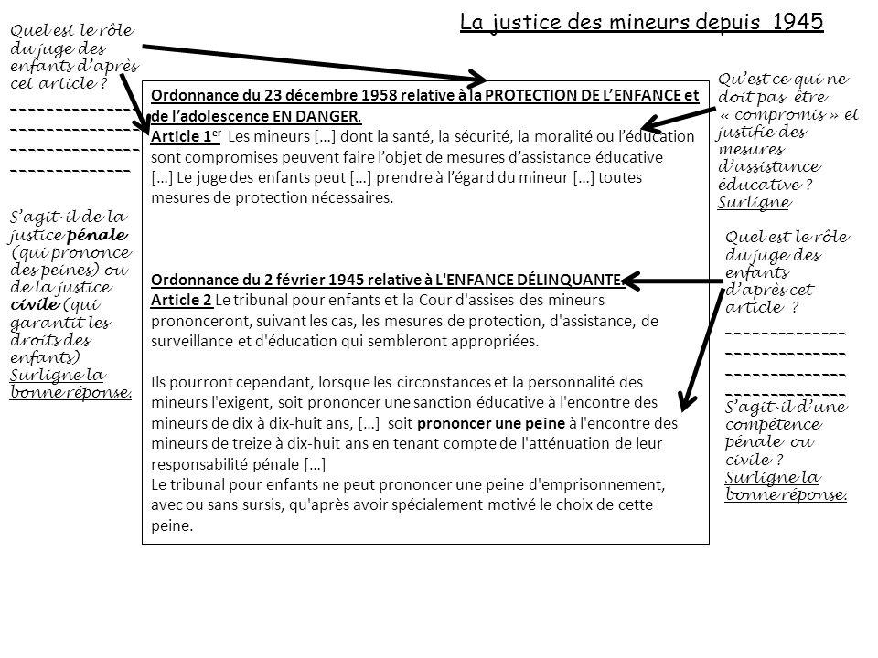 La justice des mineurs depuis 1945 Ordonnance du 23 décembre 1958 relative à la PROTECTION DE LENFANCE et de ladolescence EN DANGER. Article 1 er Les