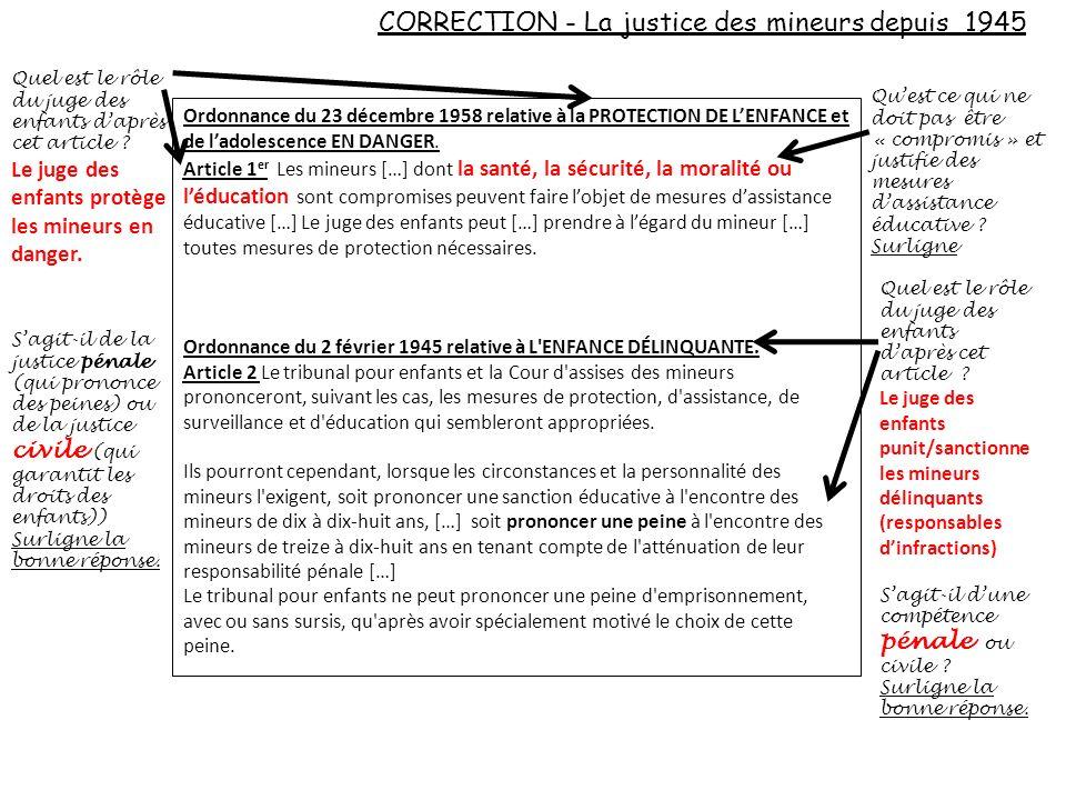 CORRECTION - La justice des mineurs depuis 1945 Ordonnance du 23 décembre 1958 relative à la PROTECTION DE LENFANCE et de ladolescence EN DANGER. Arti