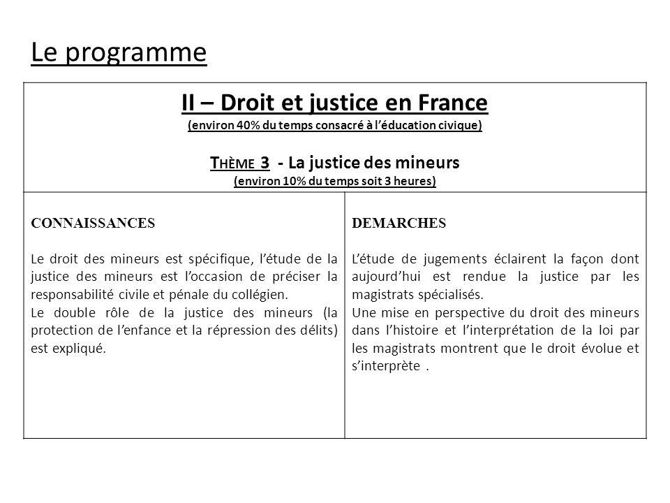 II – Droit et justice en France (environ 40% du temps consacré à léducation civique) T HÈME 3 - La justice des mineurs (environ 10% du temps soit 3 he