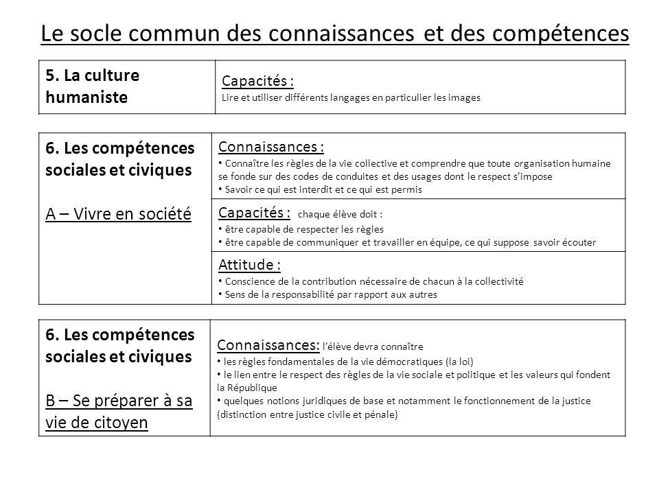 Le socle commun des connaissances et des compétences 5. La culture humaniste Capacités : Lire et utiliser différents langages en particulier les image