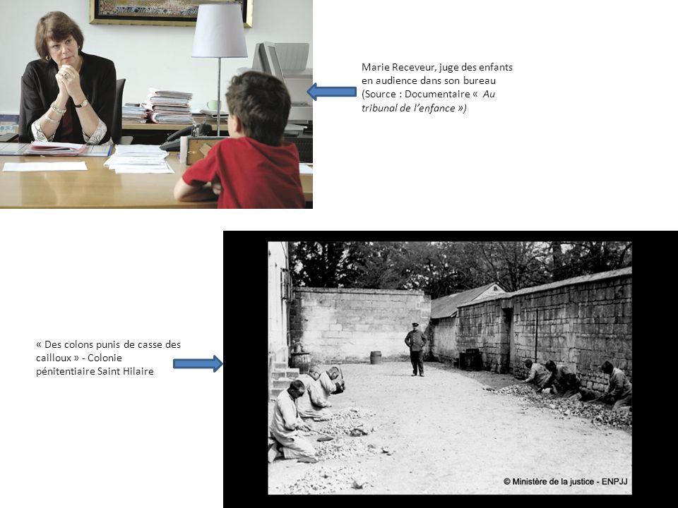 Marie Receveur, juge des enfants en audience dans son bureau (Source : Documentaire « Au tribunal de lenfance ») « Des colons punis de casse des caill