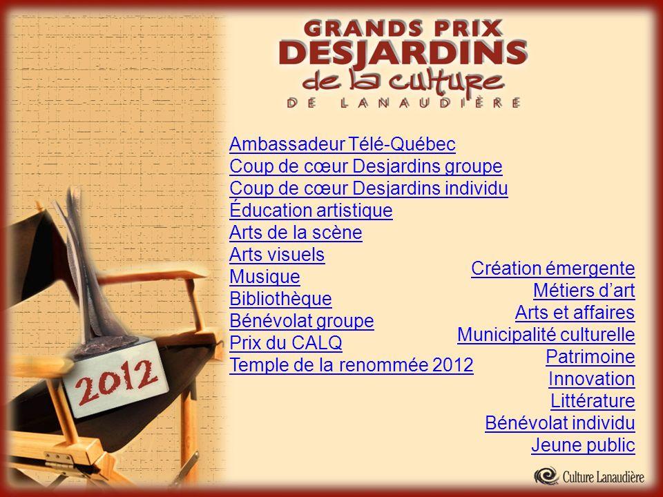 Ambassadeur Télé-Québec Coup de cœur Desjardins groupe Coup de cœur Desjardins individu Éducation artistique Arts de la scène Arts visuels Musique Bib