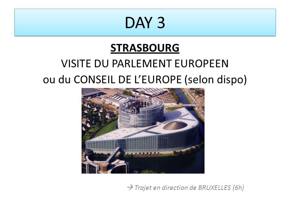 DAY 3 STRASBOURG VISITE DU PARLEMENT EUROPEEN ou du CONSEIL DE LEUROPE (selon dispo) Trajet en direction de BRUXELLES (6h)
