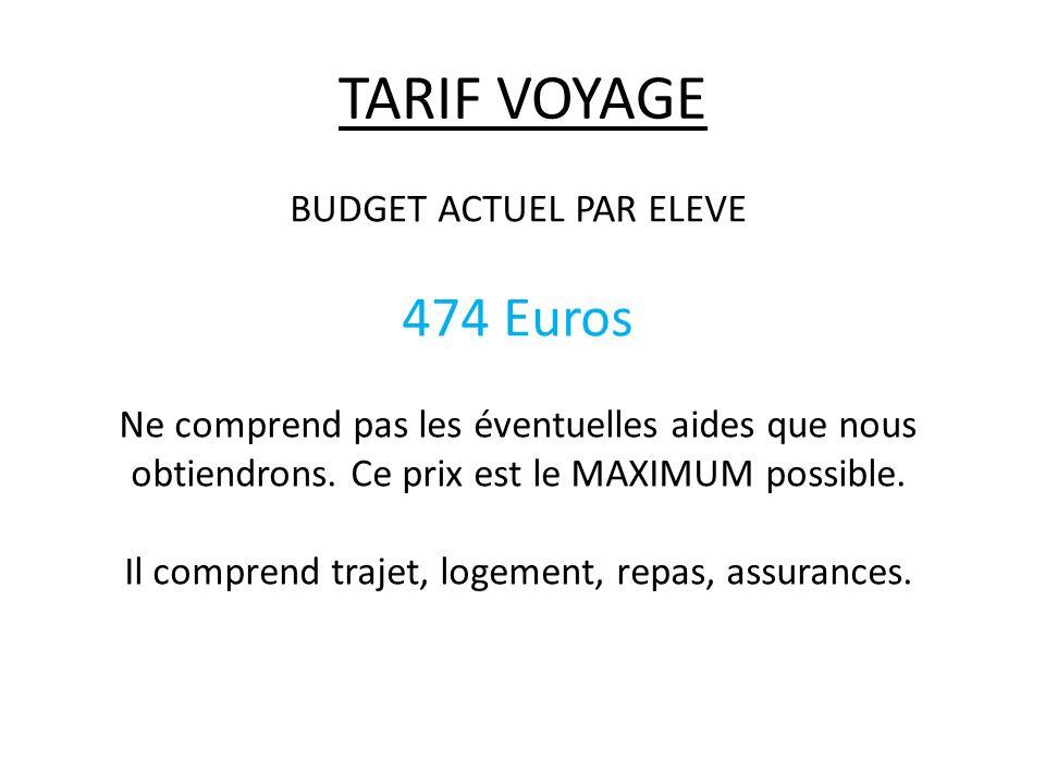 TARIF VOYAGE BUDGET ACTUEL PAR ELEVE 474 Euros Ne comprend pas les éventuelles aides que nous obtiendrons. Ce prix est le MAXIMUM possible. Il compren