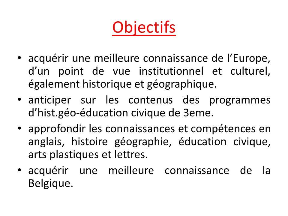 Objectifs acquérir une meilleure connaissance de lEurope, dun point de vue institutionnel et culturel, également historique et géographique. anticiper