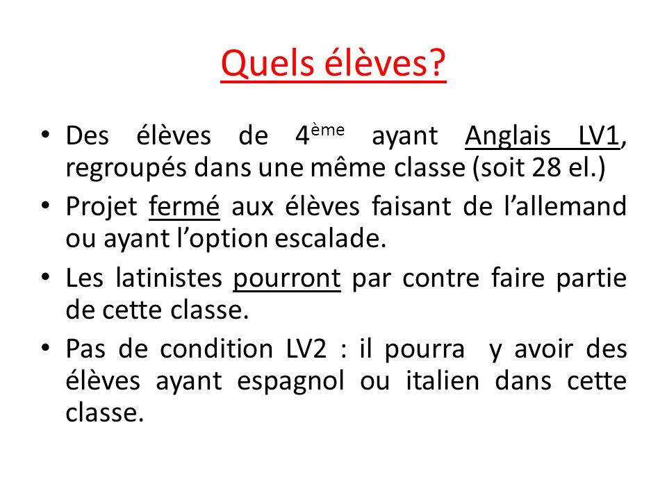 Quels élèves? Des élèves de 4 ème ayant Anglais LV1, regroupés dans une même classe (soit 28 el.) Projet fermé aux élèves faisant de lallemand ou ayan