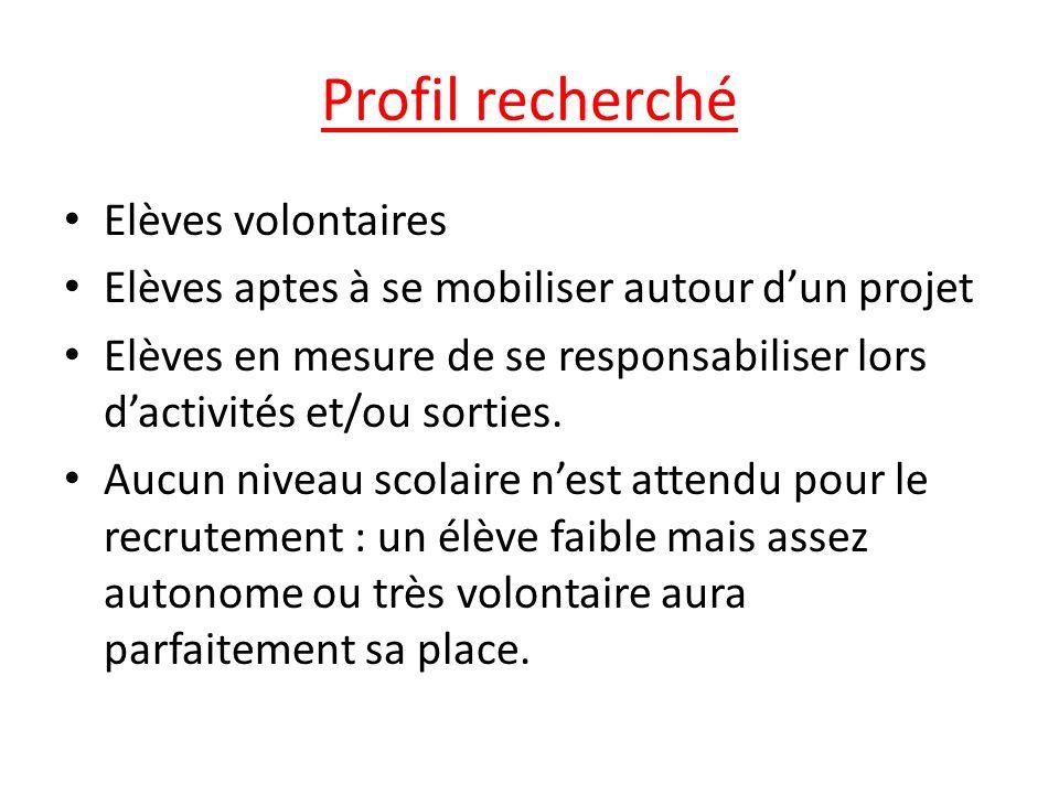 Profil recherché Elèves volontaires Elèves aptes à se mobiliser autour dun projet Elèves en mesure de se responsabiliser lors dactivités et/ou sorties
