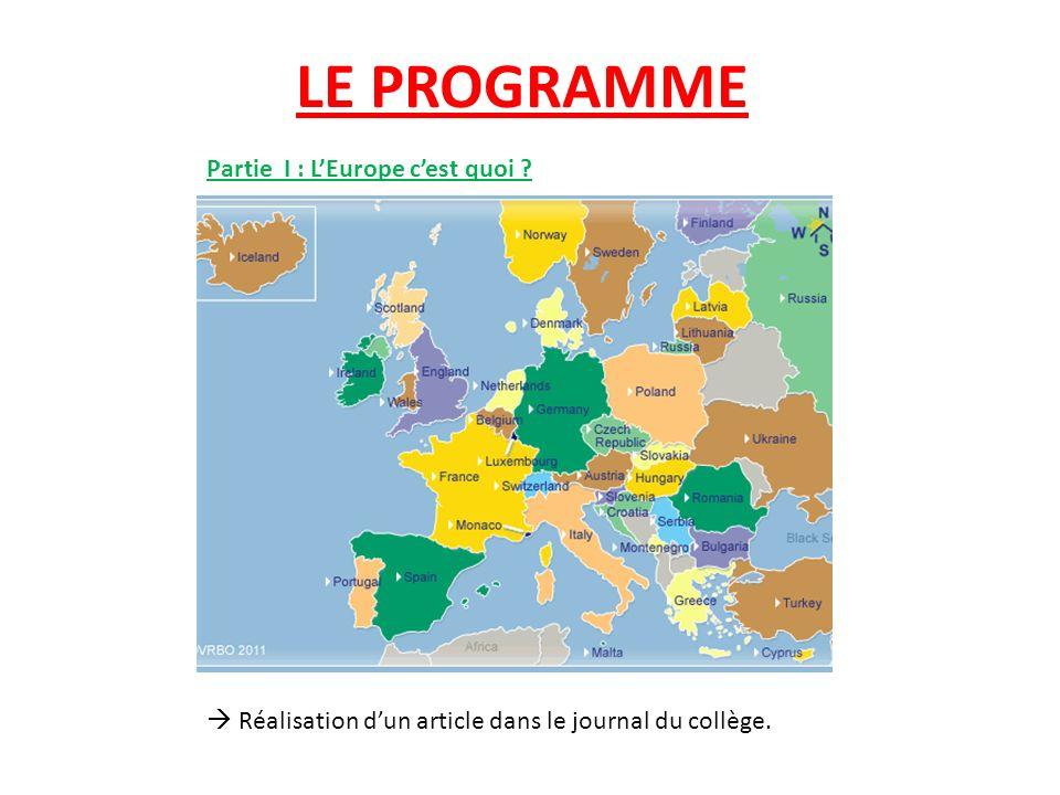LE PROGRAMME Partie I : LEurope cest quoi ? Réalisation dun article dans le journal du collège.