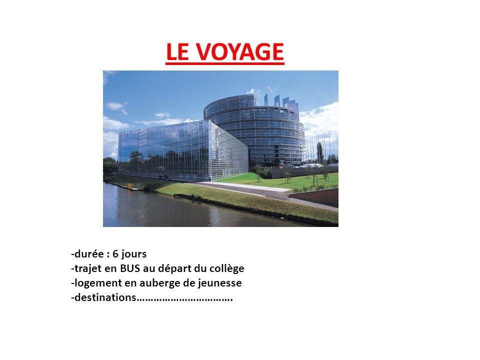 LE VOYAGE -durée : 6 jours -trajet en BUS au départ du collège -logement en auberge de jeunesse -destinations…………………………….