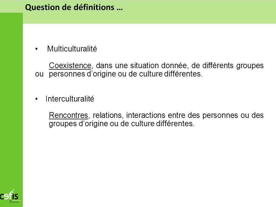 Question de définitions … Multiculturalité Coexistence, dans une situation donnée, de différents groupes ou personnes dorigine ou de culture différent