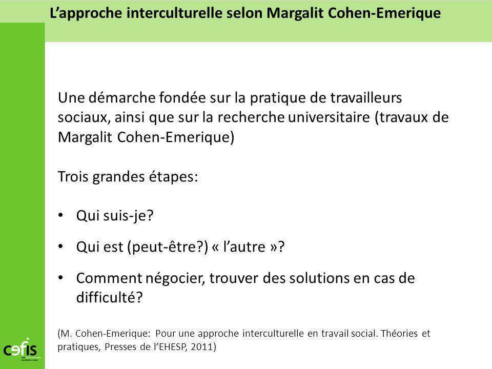 Lapproche interculturelle selon Margalit Cohen-Emerique Une démarche fondée sur la pratique de travailleurs sociaux, ainsi que sur la recherche univer