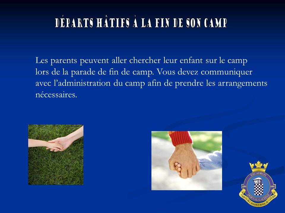 Les parents peuvent aller chercher leur enfant sur le camp lors de la parade de fin de camp. Vous devez communiquer avec ladministration du camp afin