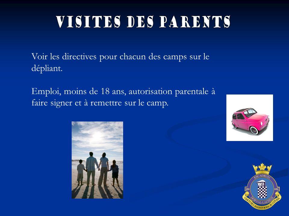 Voir les directives pour chacun des camps sur le dépliant. Emploi, moins de 18 ans, autorisation parentale à faire signer et à remettre sur le camp.