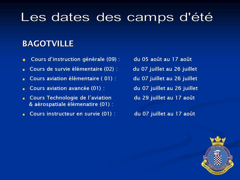 BAGOTVILLE Cours dinstruction générale (09) : du 05 août au 17 août Cours de survie élémentaire (02) : du 07 juillet au 26 juillet Cours aviation élém