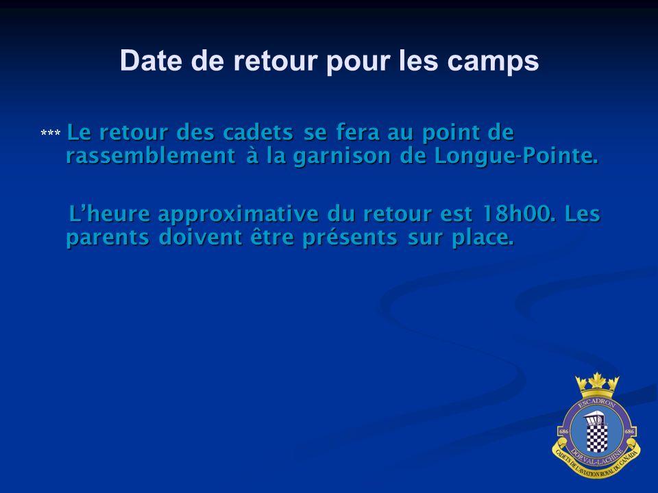 Date de retour pour les camps Le retour des cadets se fera au point de rassemblement à la garnison de Longue-Pointe. *** Le retour des cadets se fera