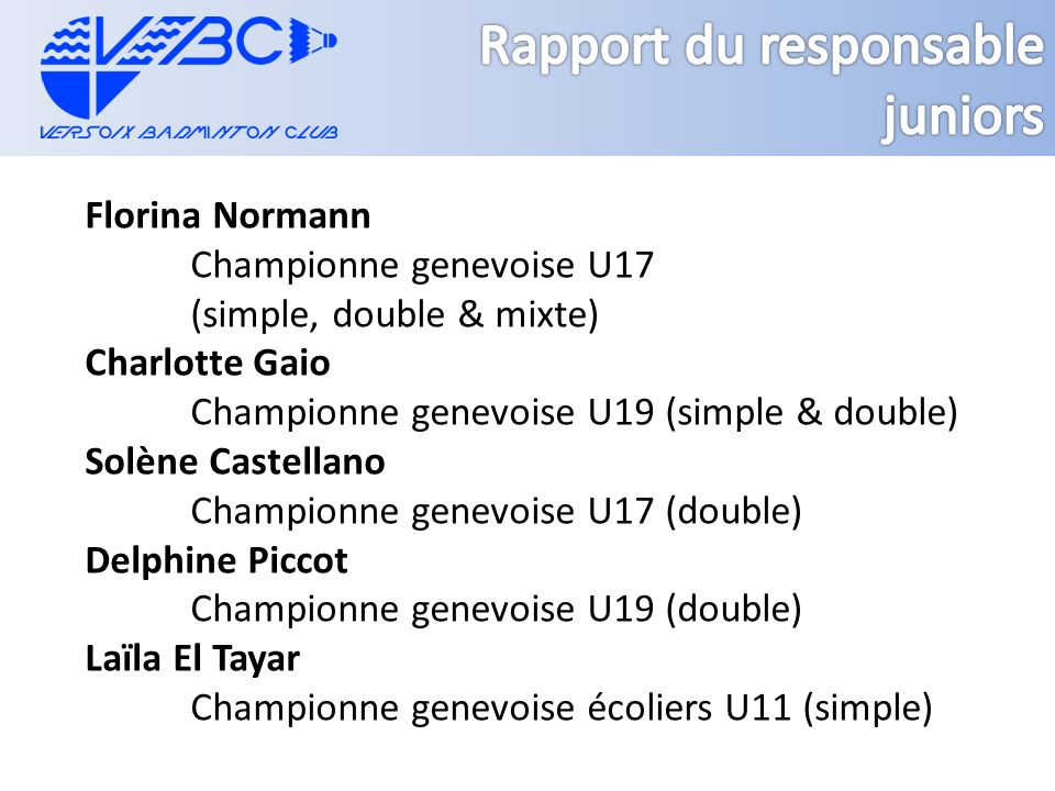 Florina Normann Championne genevoise U17 (simple, double & mixte) Charlotte Gaio Championne genevoise U19 (simple & double) Solène Castellano Champion