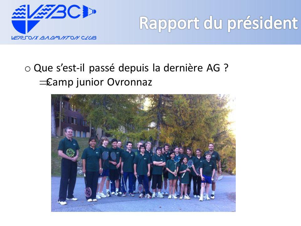 o Que sest-il passé depuis la dernière AG Camp junior Ovronnaz