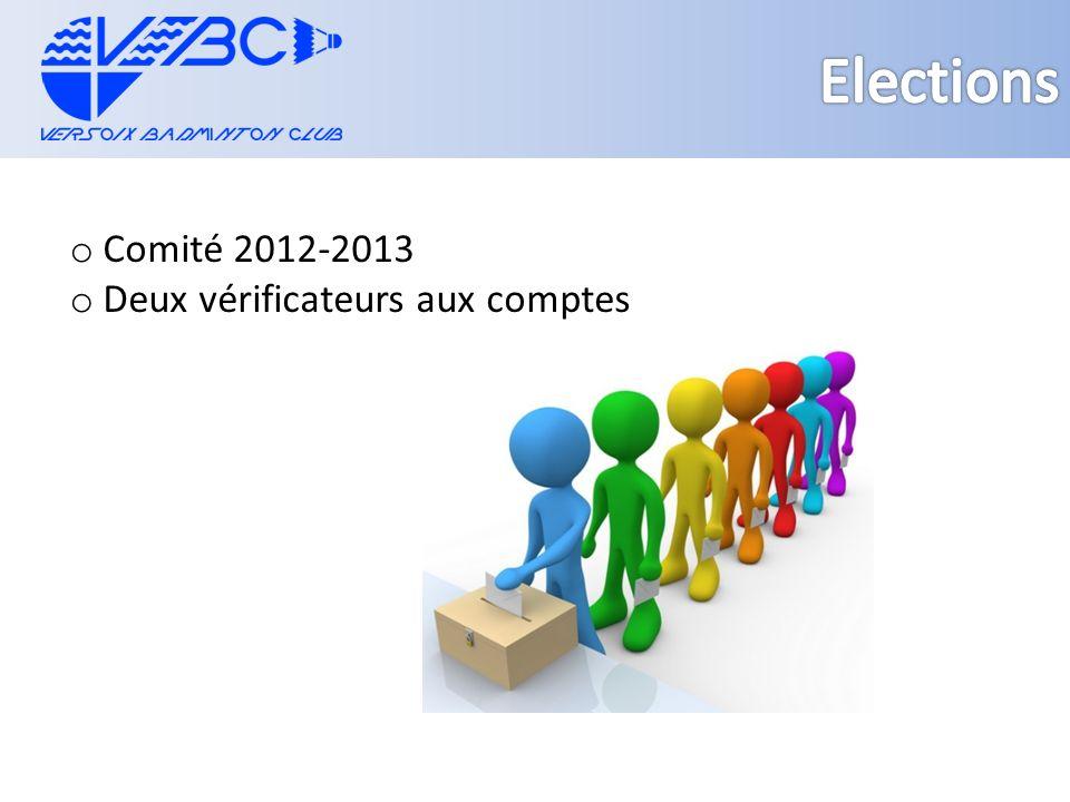 o Comité 2012-2013 o Deux vérificateurs aux comptes