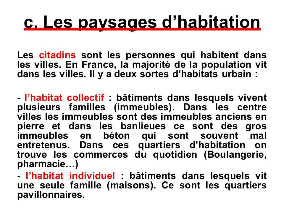 c. Les paysages dhabitation Les citadins sont les personnes qui habitent dans les villes. En France, la majorité de la population vit dans les villes.