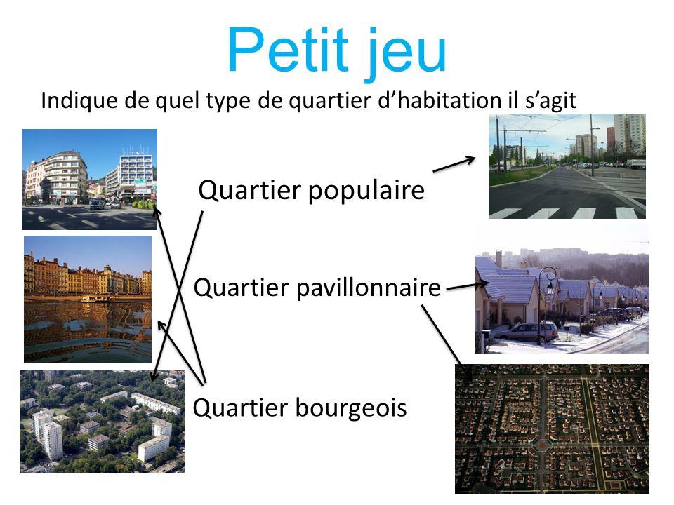 Petit jeu Indique de quel type de quartier dhabitation il sagit Quartier populaire Quartier pavillonnaire Quartier bourgeois