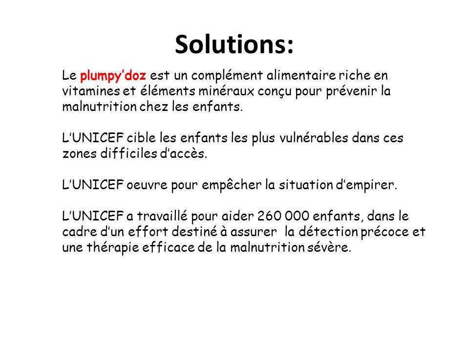 Solutions: Le plumpydoz est un complément alimentaire riche en vitamines et éléments minéraux conçu pour prévenir la malnutrition chez les enfants.