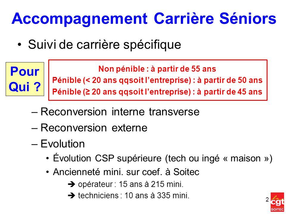 Accompagnement Carrière Séniors Suivi de carrière spécifique Non pénible : à partir de 55 ans Pénible (< 20 ans qqsoit lentreprise) : à partir de 50 a