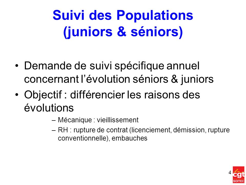 Suivi des Populations (juniors & séniors) Demande de suivi spécifique annuel concernant lévolution séniors & juniors Objectif : différencier les raiso