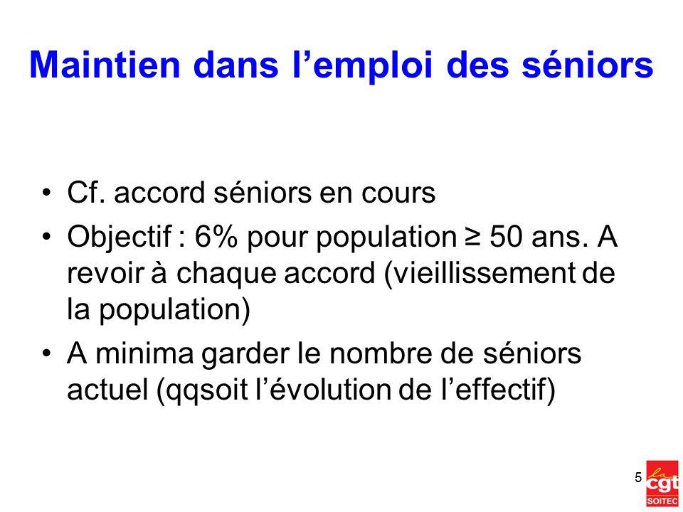 Maintien dans lemploi des séniors Cf. accord séniors en cours Objectif : 6% pour population 50 ans. A revoir à chaque accord (vieillissement de la pop