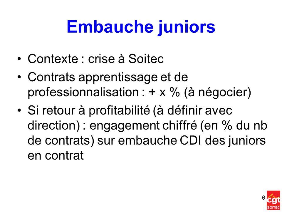 Tutorat Mise en place dun tuteur pour chaque junior ( 26 ans) en place à Soitec (qqsoit le contrat) Valorisation du statut de tuteur (sénior) –Préalable : Chiffrage du % de temps alloué –Opérateur : passage de 215 à 225 –Techniciens : passage de 285 à 305 –Cadre : +1 dans la grille interne Groupe de travail sur le sujet À partir des travaux de Jasmine LINZER (mémoire stage Master RH à Soitec) + autres contributions sur le sujet 7