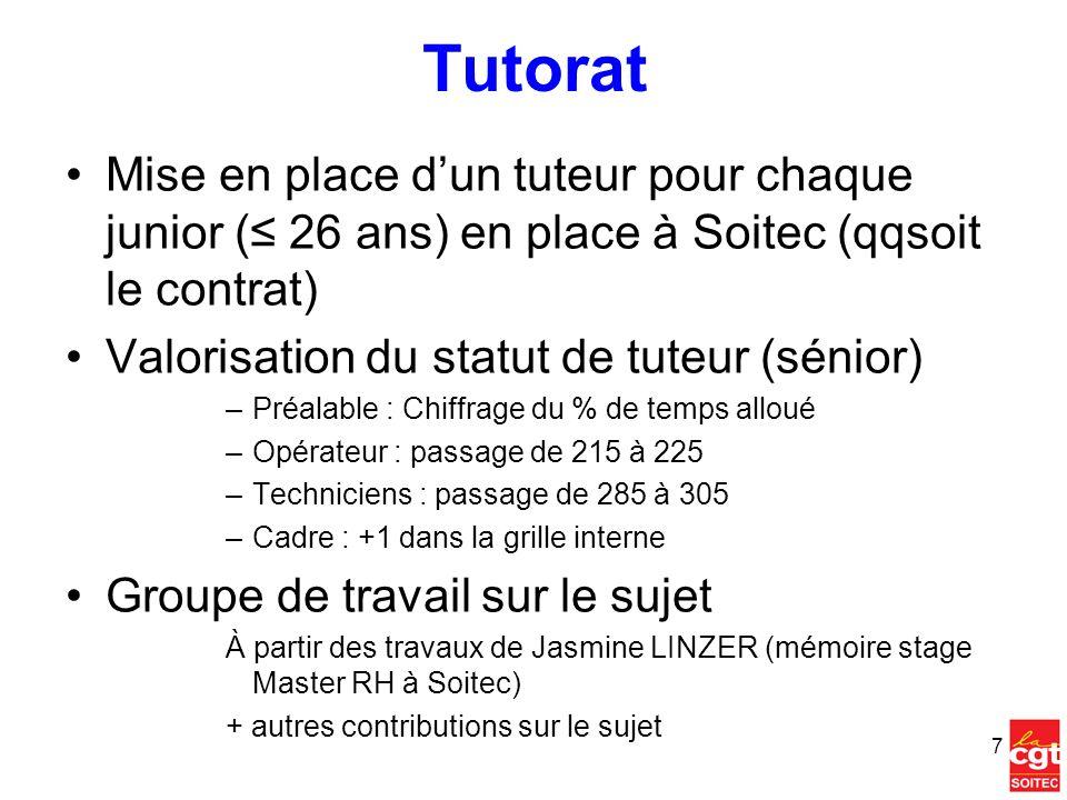Tutorat Mise en place dun tuteur pour chaque junior ( 26 ans) en place à Soitec (qqsoit le contrat) Valorisation du statut de tuteur (sénior) –Préalab