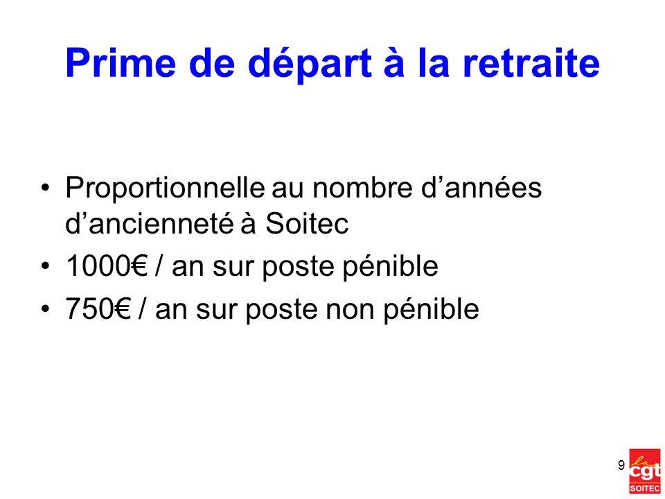 Prime de départ à la retraite Proportionnelle au nombre dannées dancienneté à Soitec 1000 / an sur poste pénible 750 / an sur poste non pénible 9
