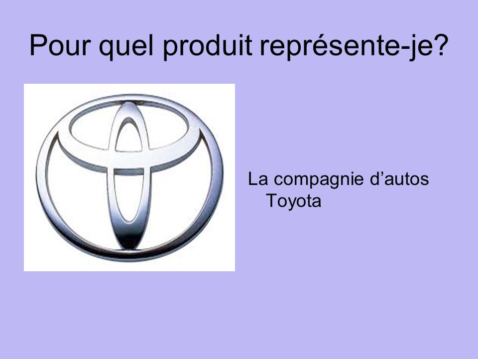 Pour quel produit représente-je La compagnie dautos Toyota