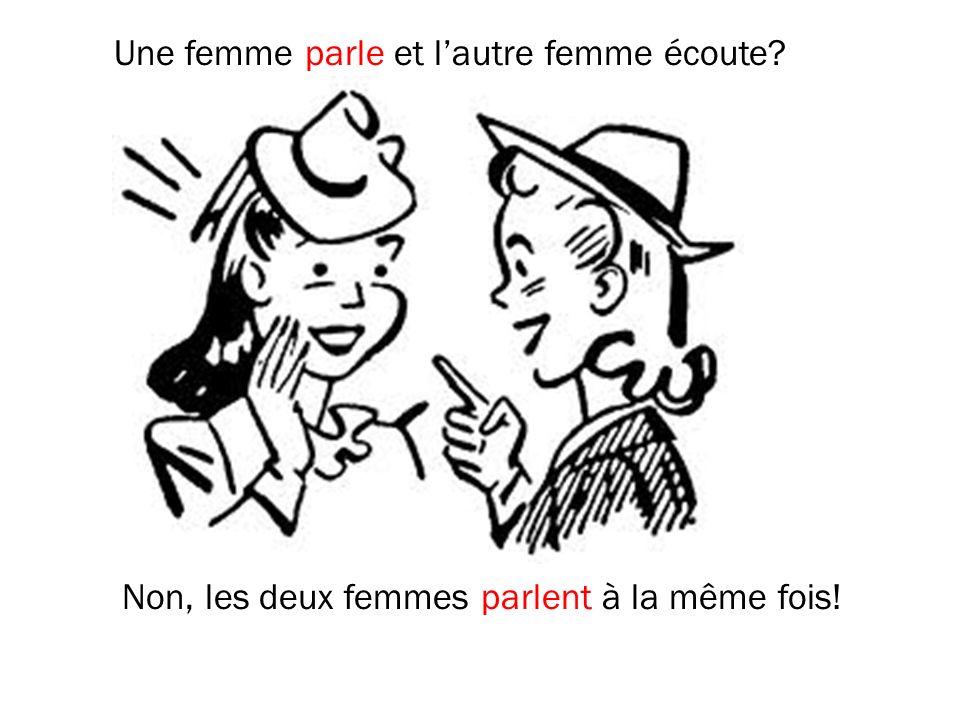 Une femme parle et lautre femme écoute? Non, les deux femmes parlent à la même fois!