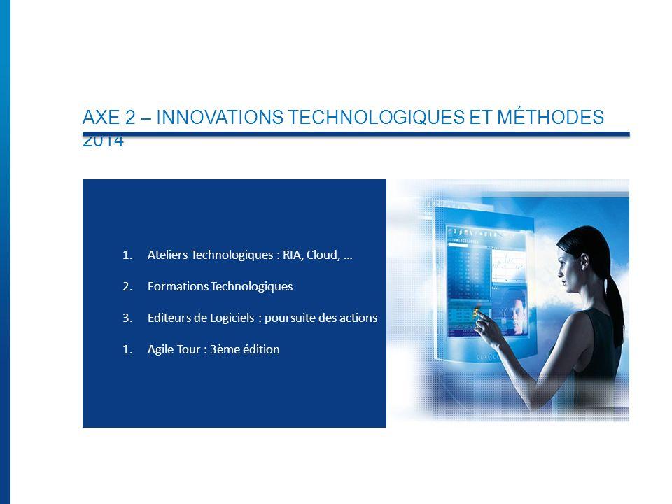 AXE 2 – INNOVATIONS TECHNOLOGIQUES ET MÉTHODES 2014 1.Ateliers Technologiques : RIA, Cloud, … 2.Formations Technologiques 3.Editeurs de Logiciels : poursuite des actions 1.Agile Tour : 3ème édition
